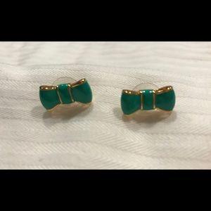 EUC Kate Spade Green Gold Bow Earrings
